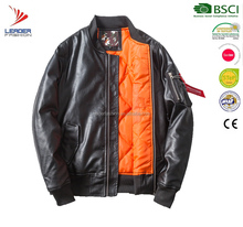 2017 fashion men PU leather bomber jacket with quilted lining
