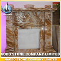 Yellow Onyx marble made fireplace mantles