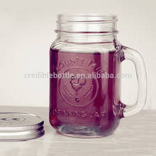 16oz/480ml Square cocks County Fair Mason Jar with Handle smoothie bottle