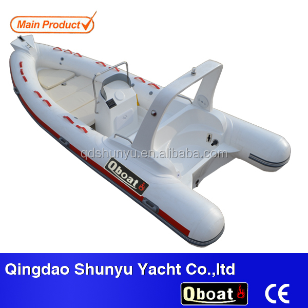 17ft inflatable rib boat fiberglass bottom pvc boat for sale