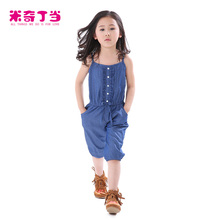 2014 New Designs Loose Style Summer Clothes For Kids Casual Jean Cotton Overall Pants