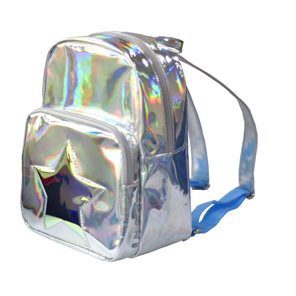Star Girl's Hologram Backpack Casual Satchel Mini School Bag Shoulder Bag Metallic Mini Backpack for Travel