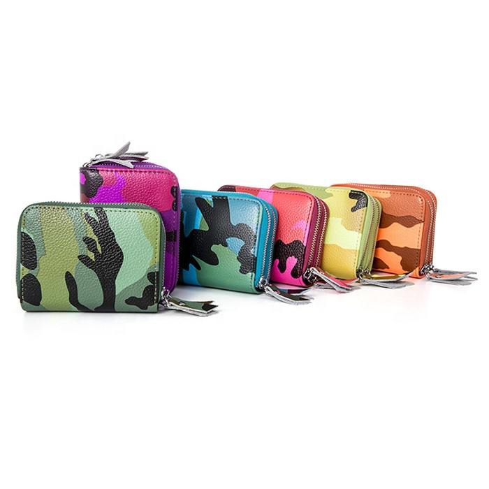 Hot camo leather card bag Multifunctional double zipper credit card holder RFID anti-theft card bag