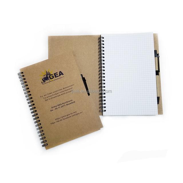 Coil Spiral Notebook With Pen,Spiral Kraft Paper Notebook With Logo Grid Notebook Printing,