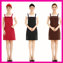 Women Kitchen Restaurant Bib Simple Elegant Cooking Aprons With Pockets