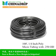 Chinadrip 1/4 Inch Poly Micro Tubing with .250 OD soaker hose pipe