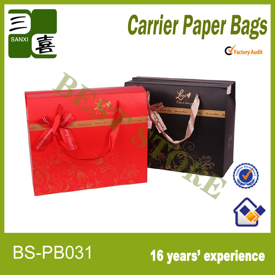 Nice paper hand bag with ribbon handle for gift,shopping
