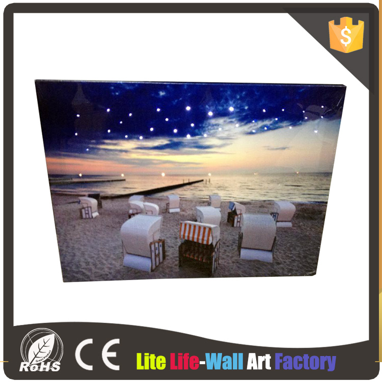 beach night sky fiber optic LED wall art print canvas picture with led light