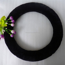 Universal fit black plush steering wheel cover