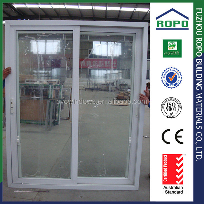 Wholesale UPVC white frame clear glass louvered door