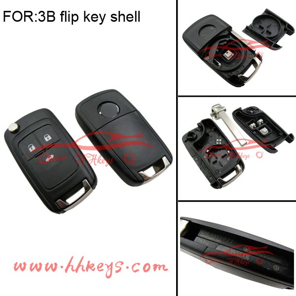 Perfect quality spare key 3 buttons flip car key for Opel Insignia fake car key