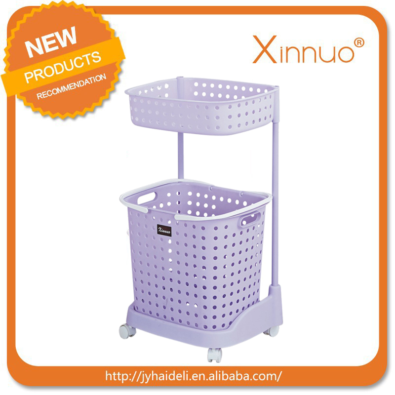 Folding colored plastic laundry baskets with wheels plastic basket with handle