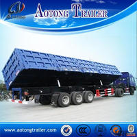 Heavy duty side 100 ton farm tipping trailer / tipper semi trailer for sale