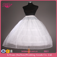 8801 Puffy Two Layers Yarn Bridal Petticoat with 2 Hoops Adjustable Waistband Bridal Crinoline