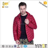 Chinese clothing manufacturers winter jackets men 90% duck down with head cover collar