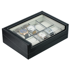 Curved Display Window 10 Slots Leather Watch Box