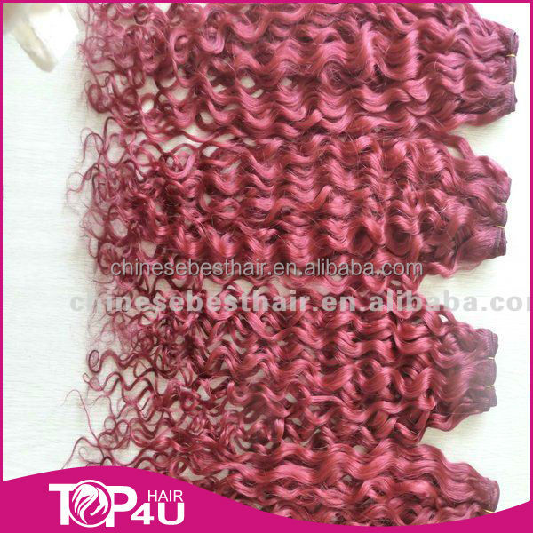 Top quality red indian remy hair weave,colored curly hair extensions,wholesale red color indian remy human hair weaving
