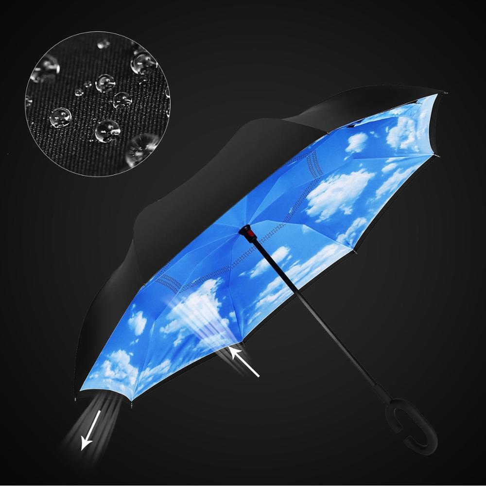 promotion automatic full printed inside out umbrella with light