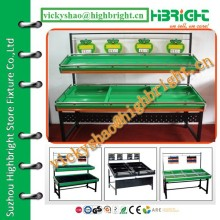 two tiers vegetable and fruit rack for fresh store equipments