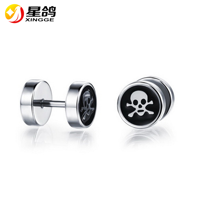 2017 punk Jewelry small Skull stud earring For Men's Stainless Steel Halloween gift