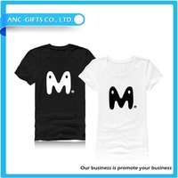China manufacturer 100 cotton wholesale men's latest 2015 custom t shirt design white and black couple tshirt