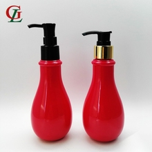 New design 200ml PET Calabash shaped red empty bottle Cosmetic lotion Bottle liquid pump bottle
