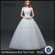 MGOO Customised Ball Gown White Plain Satin Bridal Dress Sleeveless Elegant Simple Dress For Wedding Formal Dress