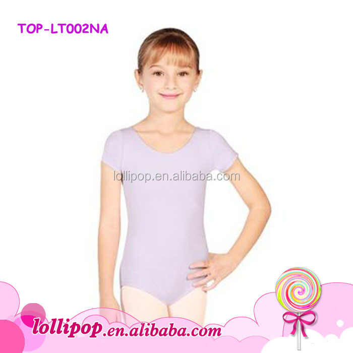 Wholesale short sleeves Girls artistic gymnastics leotards children ballet dance lavender leotards