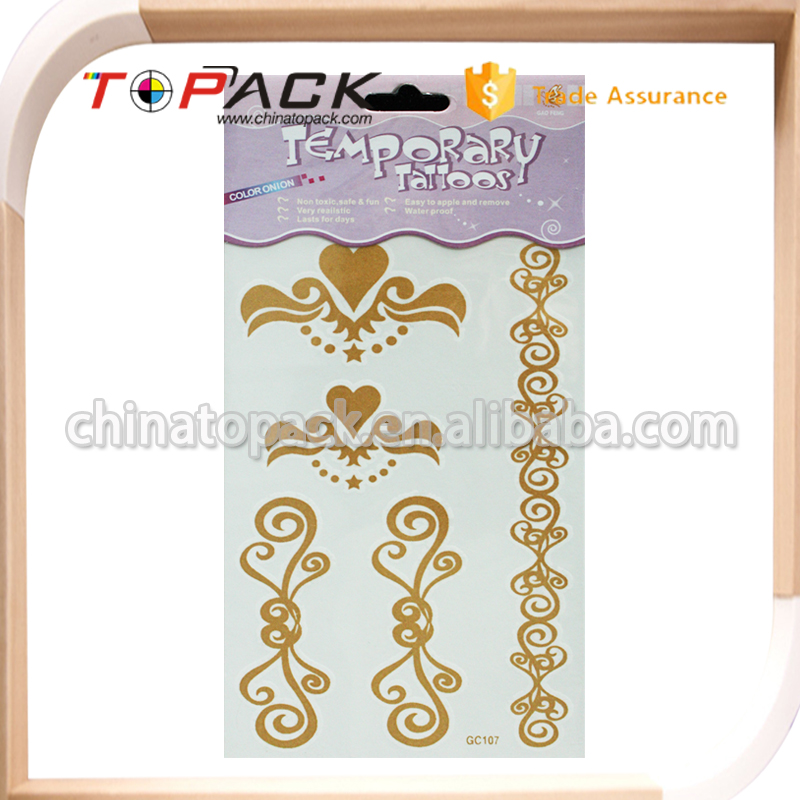 Custom Design Professional OEM/ODM Factory Supply gold foil temporary tattoos from China manufacturer