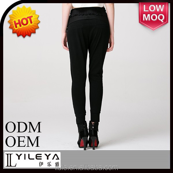 top selling elastic waist tight thin casual trousers
