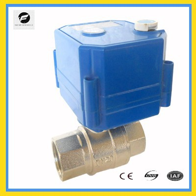 2-way electronic ball valve with position indicator for drinking water control system