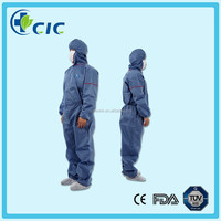 Chemical protective body suit with elastic hood and cuff