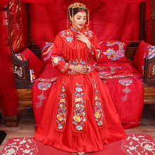 Traditional Chinese Red Bridal Tessels Cheongsam Wedding Dresses