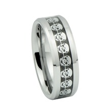 Tungsten carbide ring silver skull skeleton inlay wedding band men jewelry