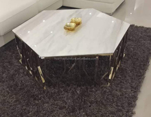 Wholesale living room furniture unique design hexagon white marble gold coffee table