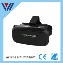 Factory OEM 3d virtual reality glasses VR box headset 3D VR shinecon with bluetooth remote controller