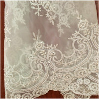 Dignified swiss cord beads and sequin lace fabric for wedding dress
