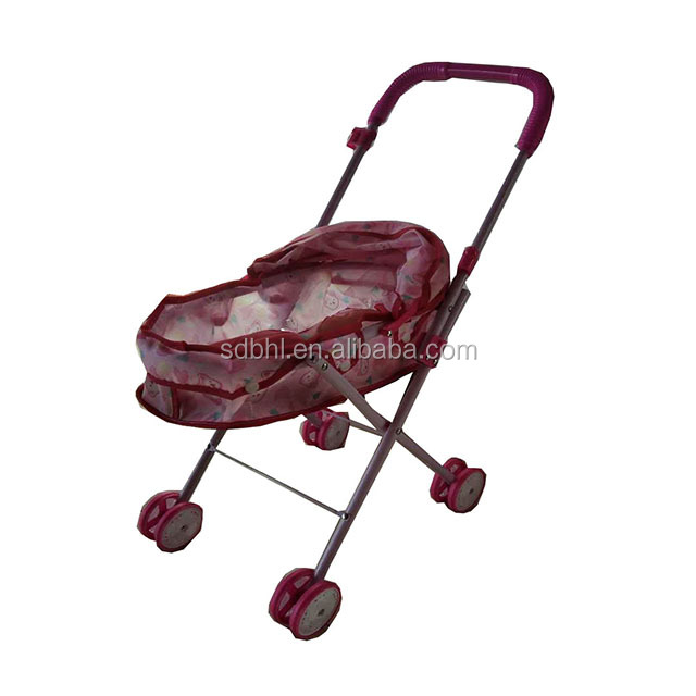 Hot popular iron metal toy pretend cheap baby stroller for doll