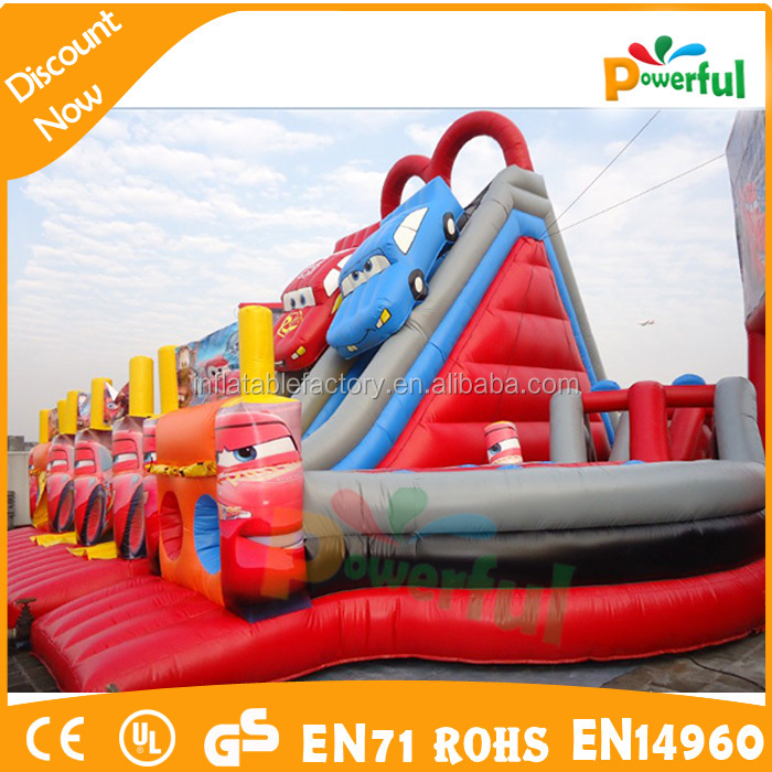 Racing Car Slide Obstacle Course/giant inflatable racing car for rental