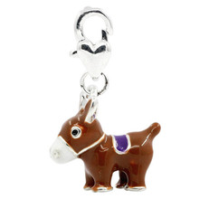 Clip On Charms Donkey Silver Plated Enamel Brown Blue White,Fits Link Chain Bracelets 3.2x1.9cm
