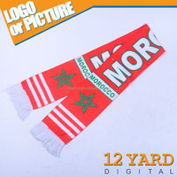 Morocco print fabric star mens printed scarf, green red white polyester scarf