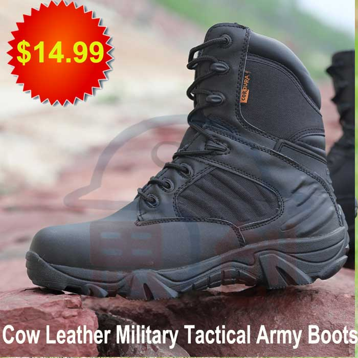 Black military leather combat <strong>boots</strong> for army tactical