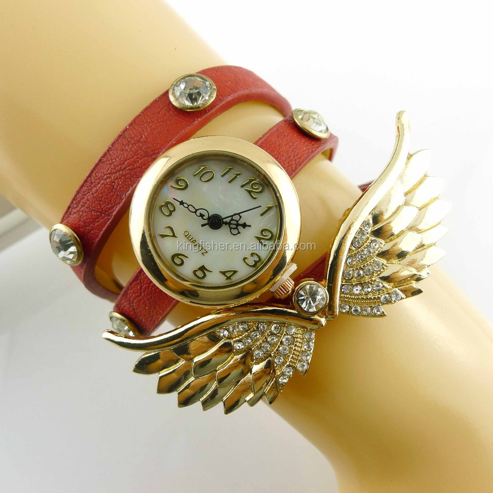 Fashion angle wings charm pu leather multi wrap crystal vogue women western wrist watch wholesales.