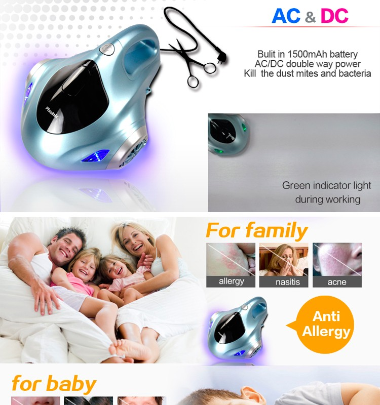 Handy vacuum cleaner to clean on bed with uv sterilization at home