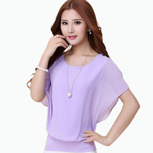New Fashion Women's Summer Short-sleeve Top Ladies Chiffon Blouses Shirts Female Elegant Batwing Plus size Casual