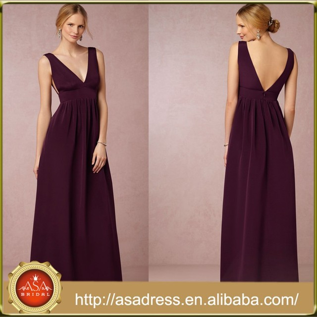 BD64 Elegant Champagne and Purple Girl Party Dresses Satin Empire Long Pregnant Bridesmaid Dresses