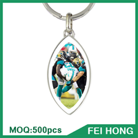 China Supplier metal souvenir football sports printing blank keychain