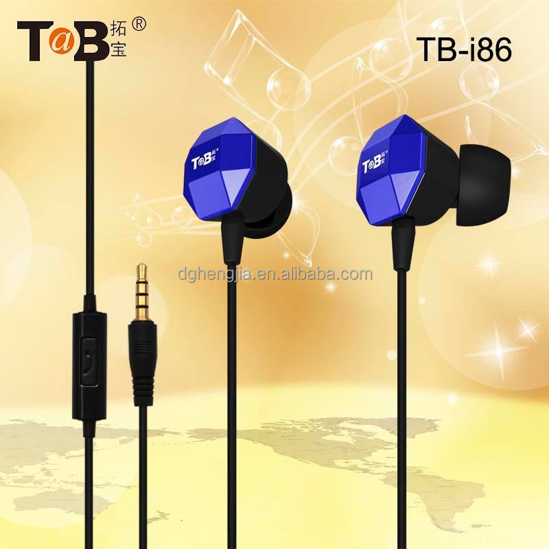 factory wholesale in-ear earphones / headphones / earbuds / headsets with in-line Mic for smart phone TB-I86