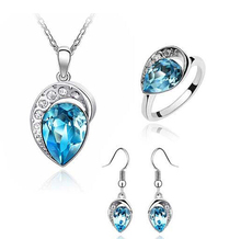 blue crystal pendant necklace earring set fashion jewelry set