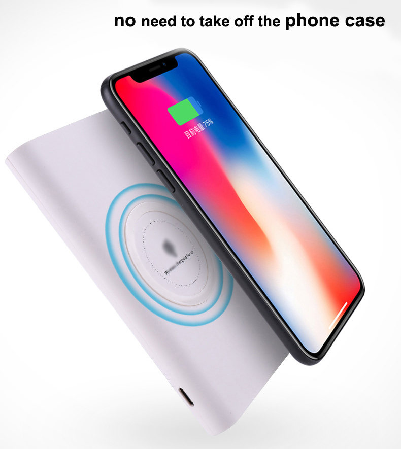Wireless Power Bank 8000mAH Portable Charger Dull Polish Fast Charging Power Bank with USB Port for iPhone X